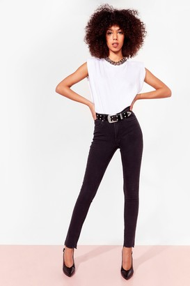 Nasty Gal Womens Bad Reputation Raw Hem Skinny Jeans - Black - 8