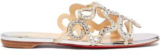 Christian Louboutin Octostrass Crystal Embellished Slides - Womens - Silver