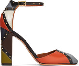 Valentino Color-block studded leather pumps