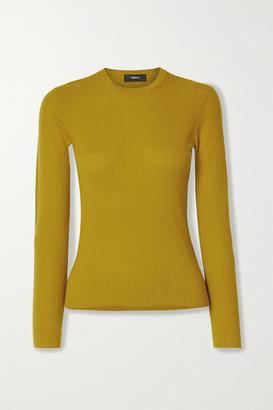 Theory Mirzi Ribbed Merino Wool-blend Sweater - Yellow