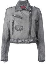 Diesel dyed effect biker jacket - women - Lamb Skin - M