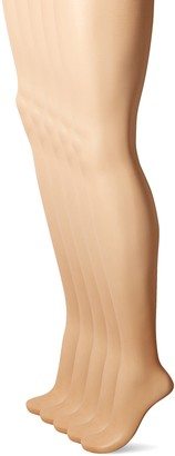 Hanes Women's 5 Pack Control Top Sheer Toe Silk Reflections Panty Hose