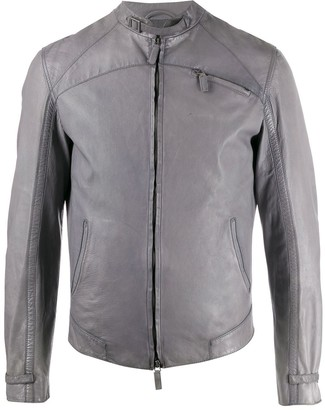 Giorgio Armani Pre Owned 2008 Fitted Leather Jacket