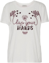 Sandro Turman embroidered flocked cotton and modal-blend T-shirt