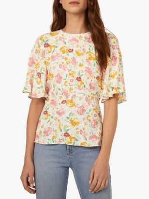 Warehouse Floral Angel Sleeve Top, Neutral Print