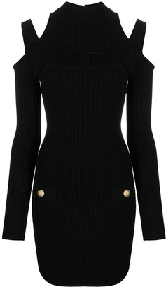 Balmain Cut-Out Rib-Knit Dress