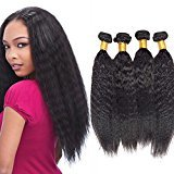 Vinsteen Best Quality Kinky Straight Hair Wefts 4 Bundles Short and Long Length Natural Color Real Brazilian Human Hair Extensions Thick Ends shiny Hair Weaves (8 10 12 14)
