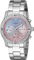 GUESS GUESS? Women's U0774L1 Silver-Tone Watch with Blue and Pink Glitter Multi-Function Dial