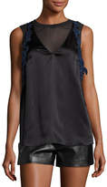 3.1 Phillip Lim Sleeveless Lace-Trim Satin Slip Top, Black