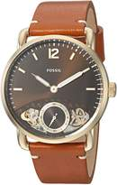 Fossil Men's 'The Commuter Twist' Quartz Stainless Steel and Leather Casual Watch, Color:Brown (Model: ME1166)