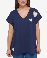 Tommy Hilfiger Plus Size Cotton Lace Heart T-Shirt
