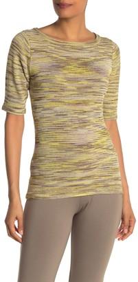 Vertigo Space Dye Elbow Length Sleeve Top