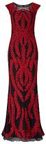 Phase Eight Collection 8 Azelia Tapework Full Length Dress, Black/Claret