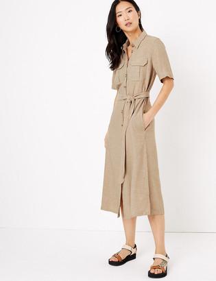 Marks and Spencer Linen Belted Midi Shirt Dress
