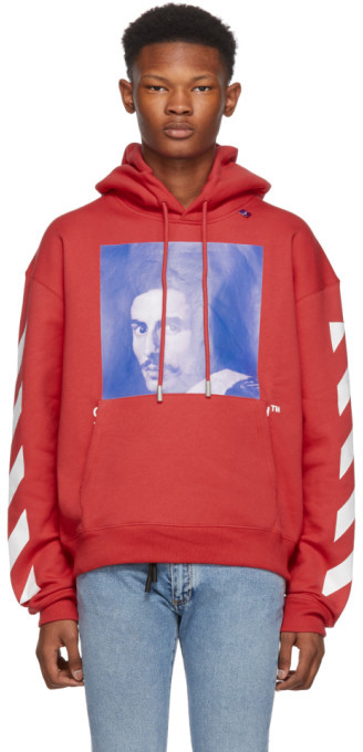 Off-White Off White Red Diagonal Bernini Over Hoodie