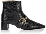 Prada Buckle Croc-Embossed Leather Ankle Boots