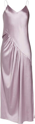 Lake Studio Gathered Silk-Satin Maxi Dress