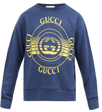 Gucci GG-disc Print Organic-cotton Jersey Sweatshirt - Blue