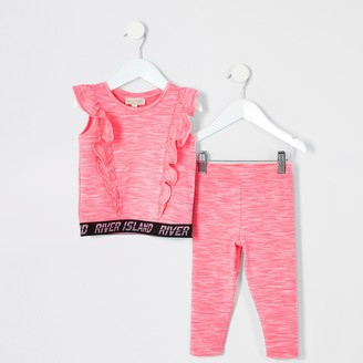 River Island Mini girls Pink RI Active outfit