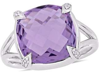 Tangelo 7-4/5 Carat T.G.W. Amethyst and White Topaz Sterling Silver Cocktail Ring
