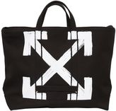 Off White Brushed Arrows Canvas Tote Bag