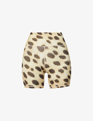 WeWoreWhat Leopard-print high-rise stretch-jersey bike shorts