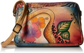 Anna by Anuschka Genuine Leather Satchel Organizer | Hand-Painted Original Artwork | Floral Abstract