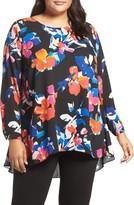 Vince Camuto Plus Size Women's Floral Rendezvous Pleat Back High/low Blouse