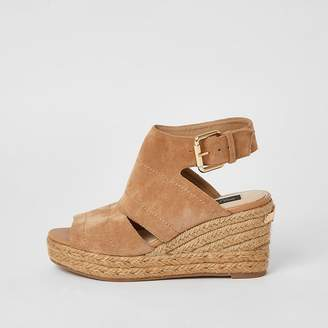 River Island Beige open toe wide fit wedge sandals