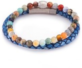 März The Koi Woven Leather & Multi Colored Beaded Stone Band Set - Set of 2