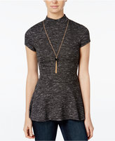 Amy Byer Juniors' Space-Dyed Necklace Peplum Top