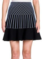 Fendi Knit Grid-Detail Flounce Skirt