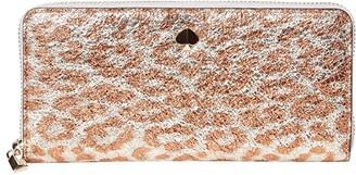 Kate Spade Metallic Leopard Slim Continetnal Wallet (Silver Multi) Checkbook Wallet