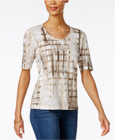 Karen Scott Printed Elbow-Sleeve T-Shirt, Only at Macy's