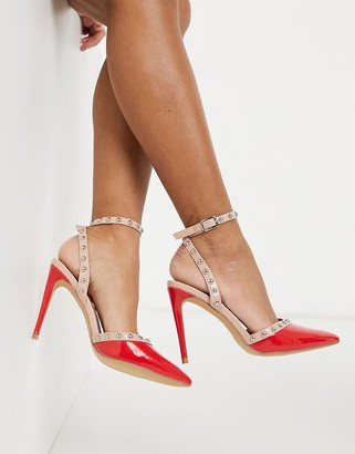 London Rebel studded pointed heels in red