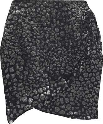 IRO Baying Wrap-effect Leopard-print Fil Coupe Chiffon Mini Skirt