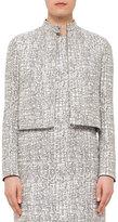 Akris Punto Cross-Stitch Printed Jacquard Jacket, Chalk/Cliff