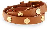 Tory Burch Leather Logo-Stud Double-Wrap Bracelet