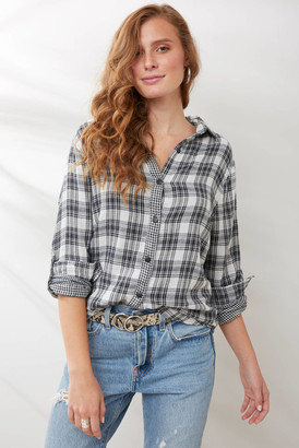 Sam&lavi Sam & Lavi Gauze Plaid Button Down Shirt Black Multi XS
