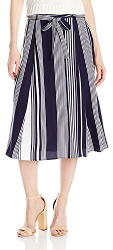 "NY Collection Women's Printed 29"" Length Skirt with Tie Waist"