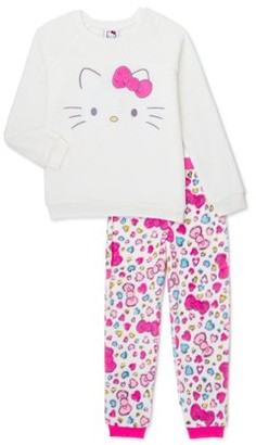 Hello Kitty Girls Pink Bow Long Sleeve Top and Pants Pajama Set, 2-Piece, Sizes 4-12