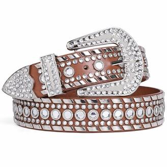 Suosdey Fashion Women Leather Belts Rhinestone Belt Diamond Belts for Women Western Cowgirl Bling Studded Waist Belt for Jeans Pants
