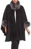 Blue Duck Plus Size Women's Genuine Fox Fur Trim Cape