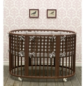 Baby Oval Crib Bedding - Dots In Chocolate