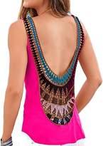 KUFV Womens Sexy Crochet Lace Petal Open Back Cutout Chiffon Tank Tops Camis