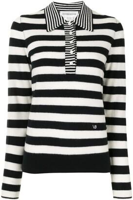 Victoria Beckham Striped Knit Polo Shirt