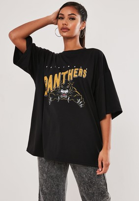 Missguided Black Oversized Panthers Graphic T Shirt