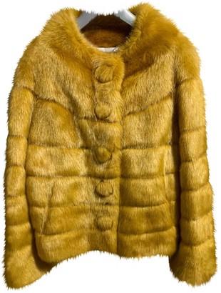 Twin-Set Twin Set Yellow Faux fur Coat for Women