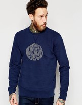 Pretty Green Sweatshirt with Logo Print in Navy