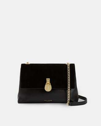 Ted Baker HELENA Medium suede padlock cross body bag